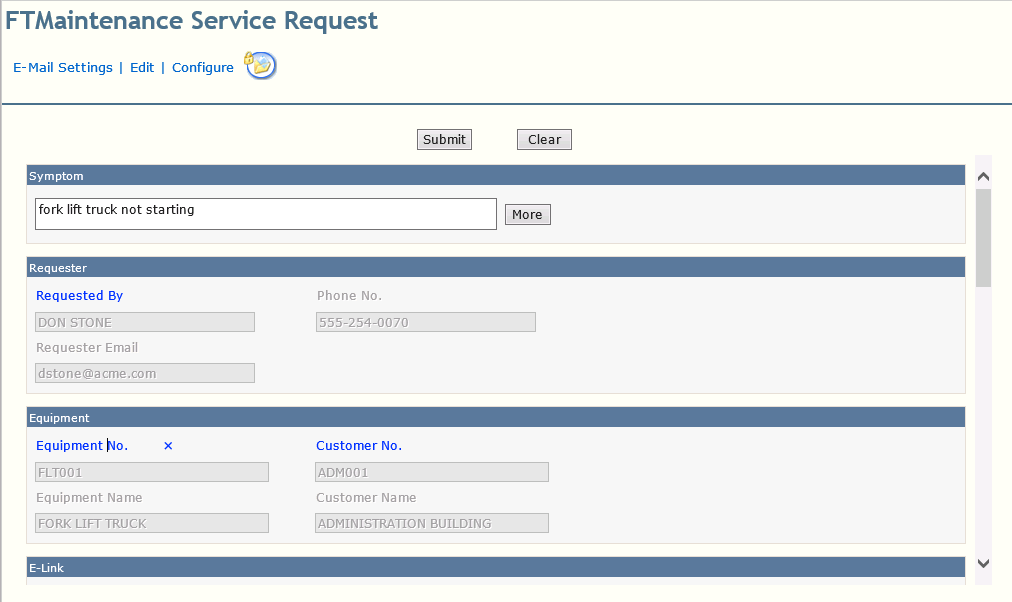 Generate service requests with complete service details
