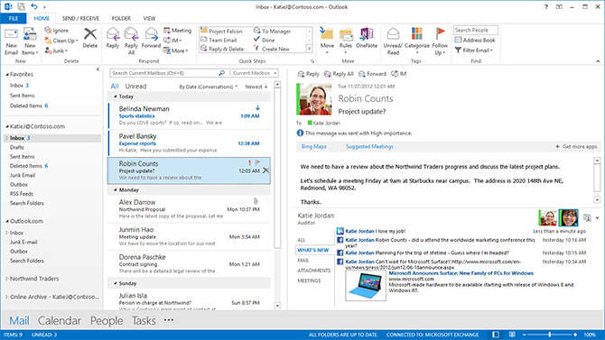 Microsoft Outlook screenshot: Get a unified view of all emails, calendars, contacts, and files