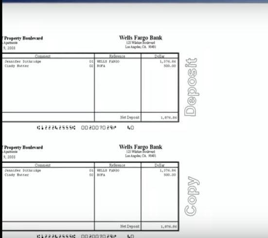 Property Boulevard Software - Payment deposit slip