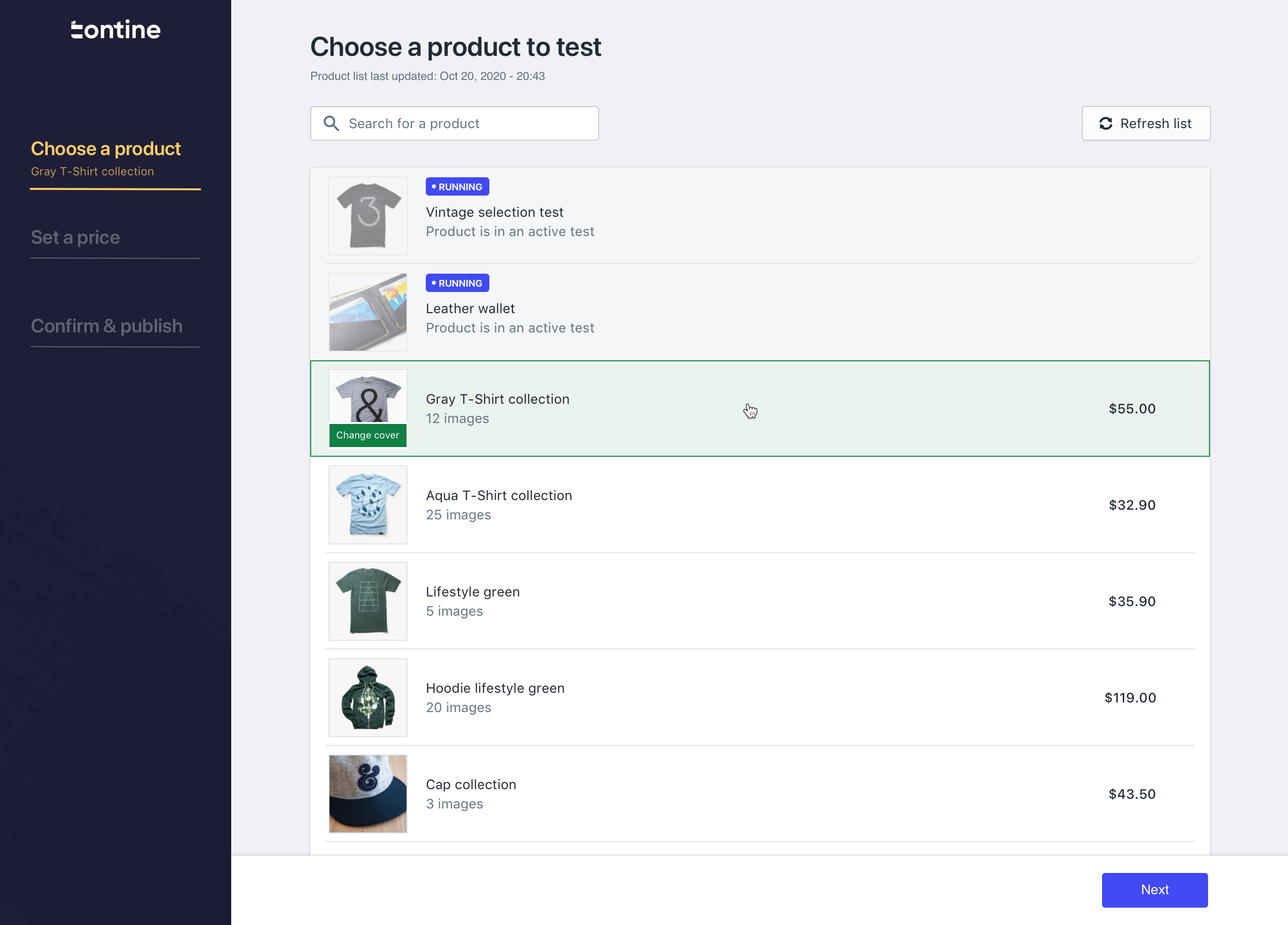 Tontine screenshot: Run Test: With automatic product imports, syncing, and suggestions, each new test only takes <3 minutes to set up and run