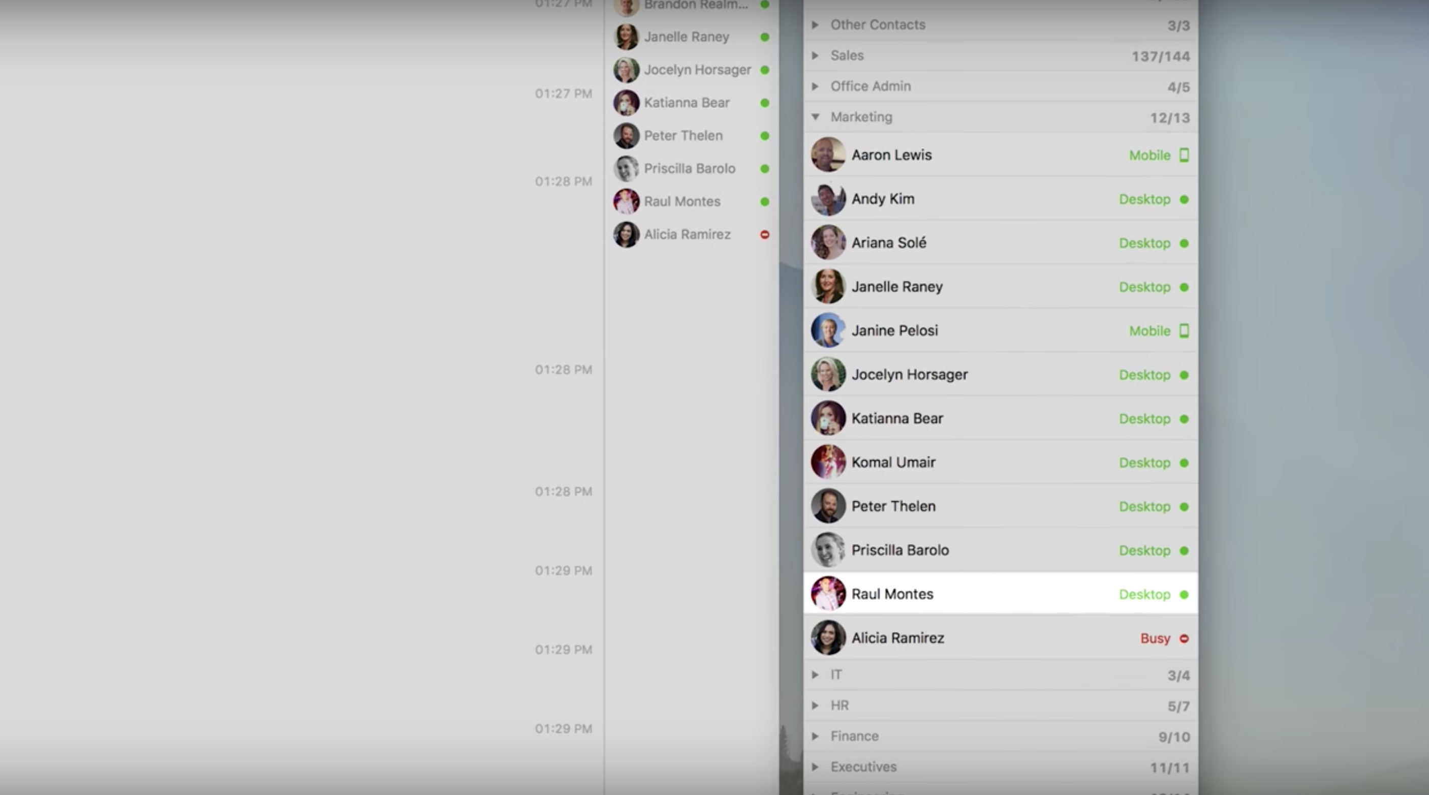 """Zoom Meetings & Chat screenshot: """"Presence Status"""" in Zoom's Business IM indicates when users are available or busy, as well as which device they're on (desktop or mobile)"""
