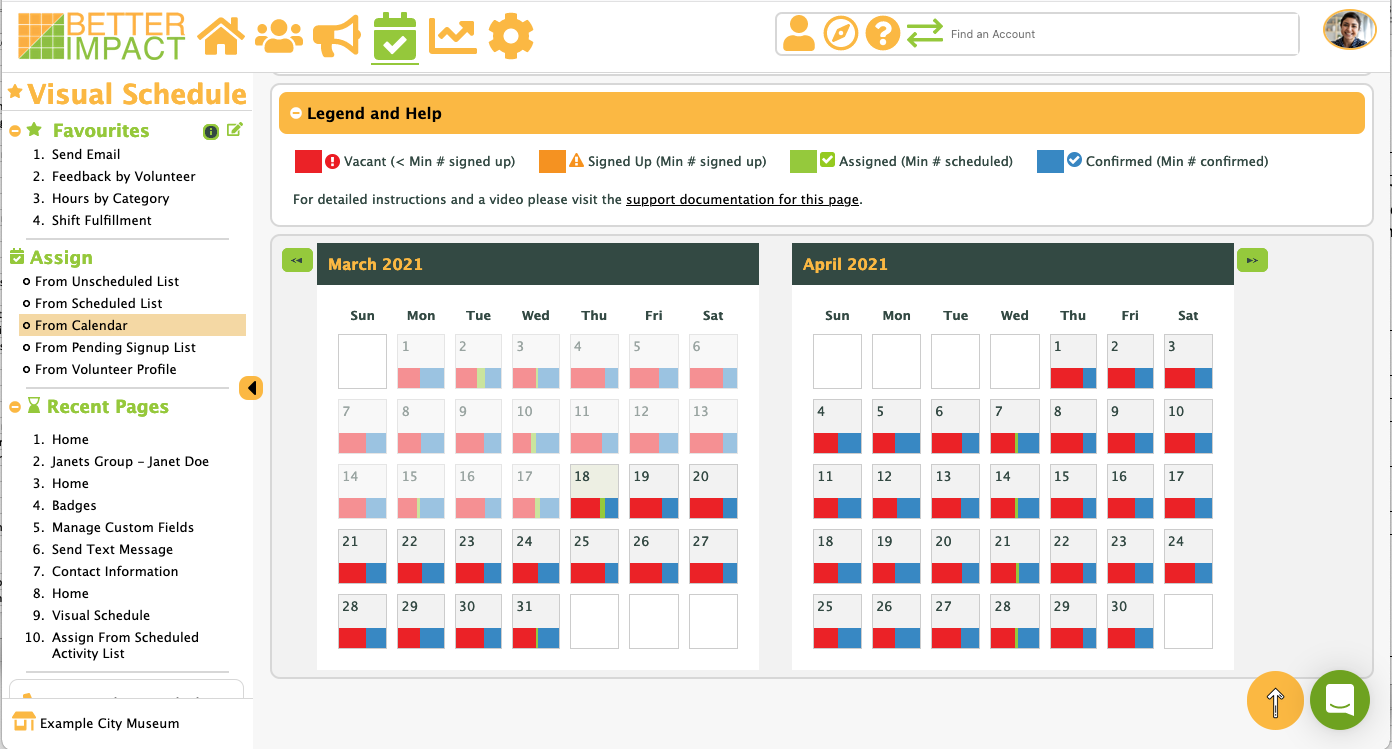 See which shifts are filled and which ones have vacancies