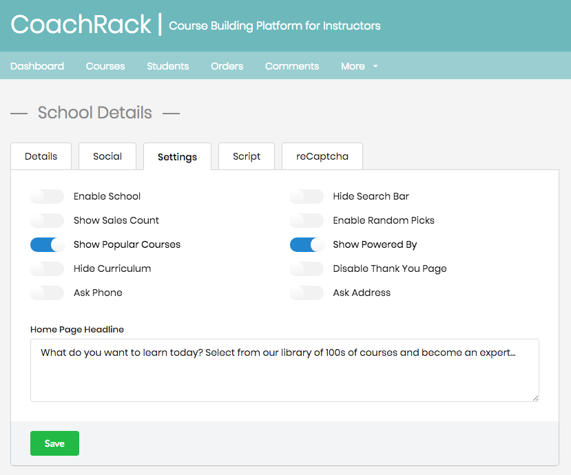 Invanto school details settings