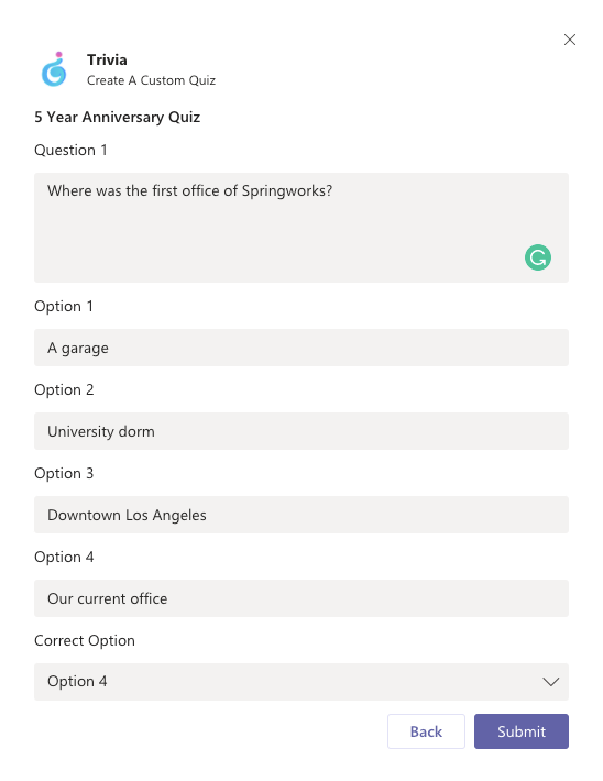 Trivia create a custom quiz