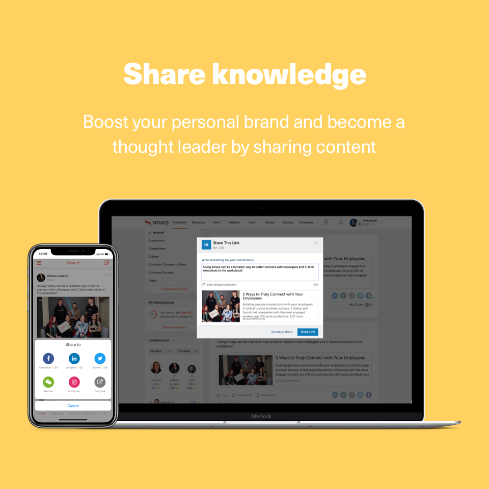 Easily share content to personal networks on platforms like LinkedIn, Facebook and Twitter