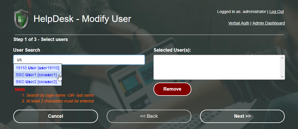 Help Desk Username Lookup