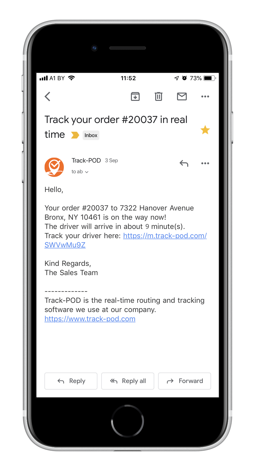 Track-POD Software - ETA notification by email - Track-POD