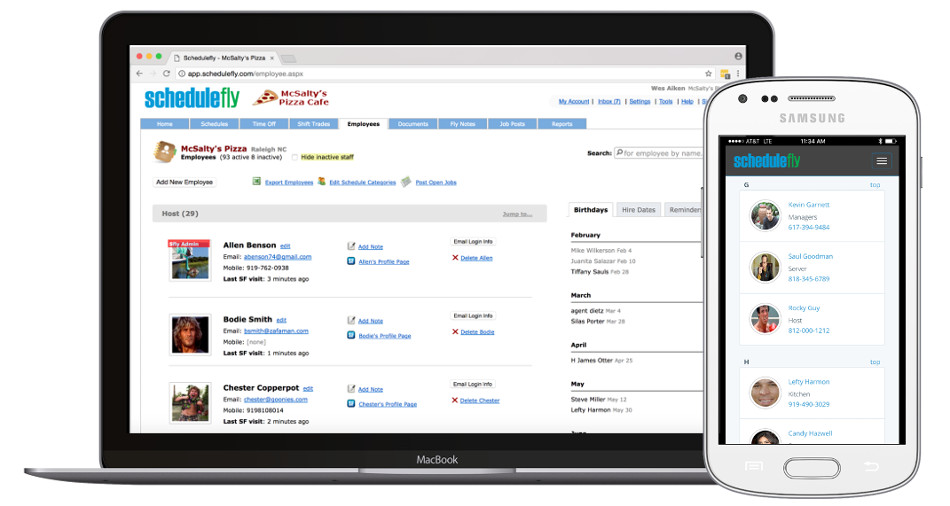 Organize your team of people into a database online. Contact information and important details on all staff (present and past) are at your fingertips, wherever you may be.