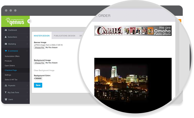 Create a custom branded portal where visitors can subscribe to the publication