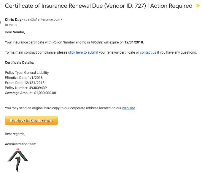 A1 Tracker insurance claim alerts screenshot