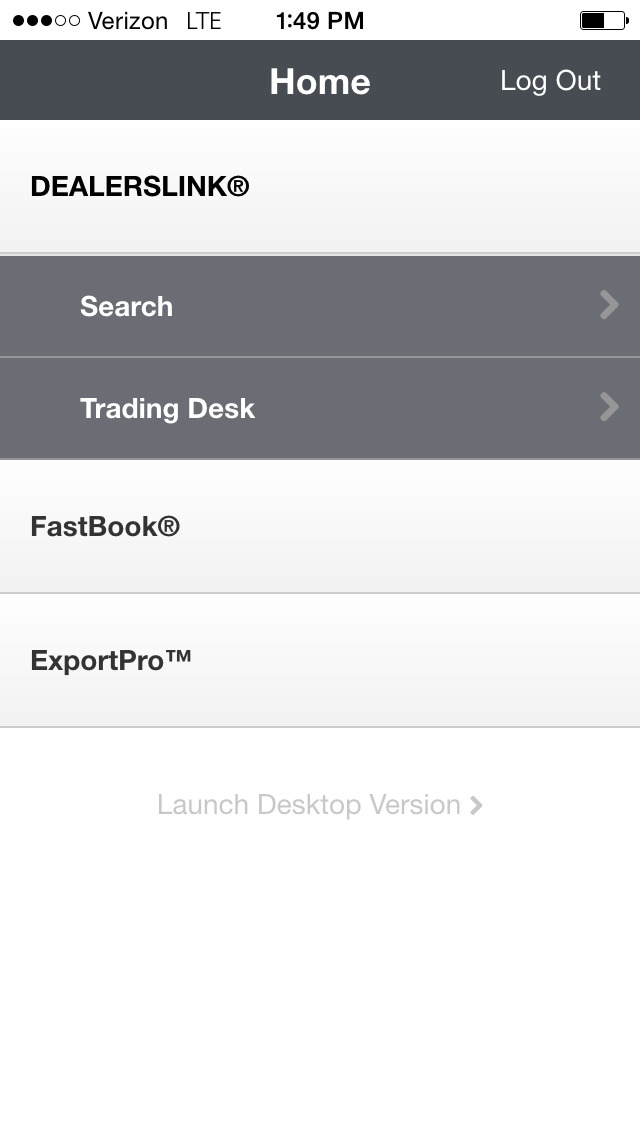 DealersLink mobile provides search functionality, trading desks and Fastbook™ and ExportPro™ access