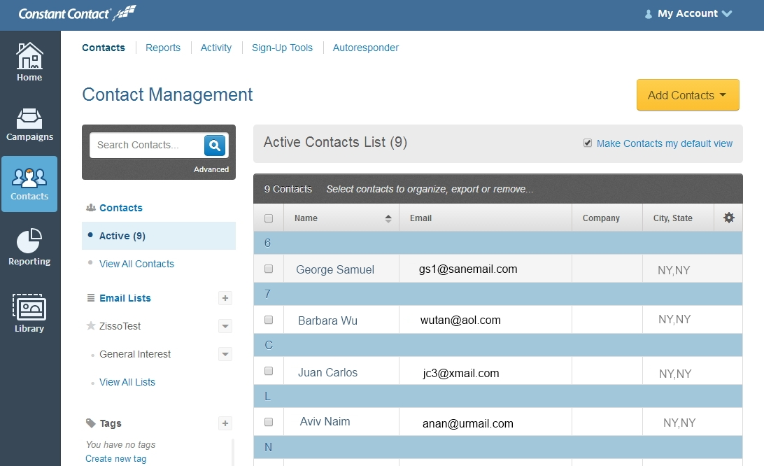 Constant Contact Software - Constant Contact Contacts