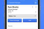 Indeed screenshot: Manage candidates and view their status, resume, and more