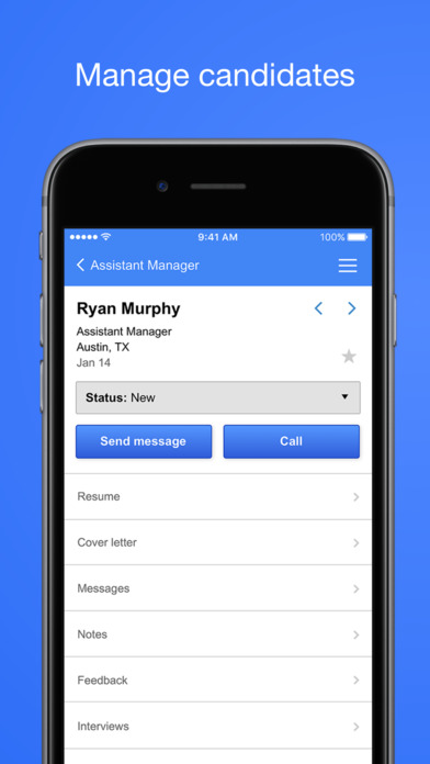 Manage candidates and view their status, resume, and more