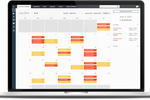 The Flybook screenshot: A fully customizable, static scheduling calendar can be edited and populated using drag and drop changes, while displaying real-time availability updates for inventory, staffing and resources etc