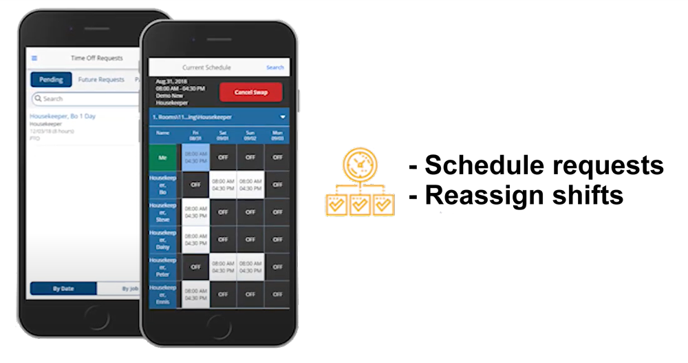 UniFocus mobile app allows you to easily reassign shifts
