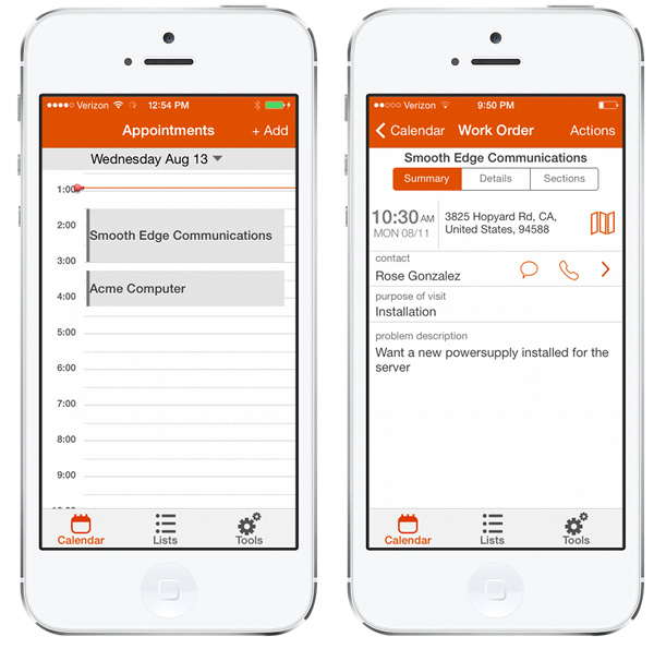 ServiceMax Daily Calendar for iPhone