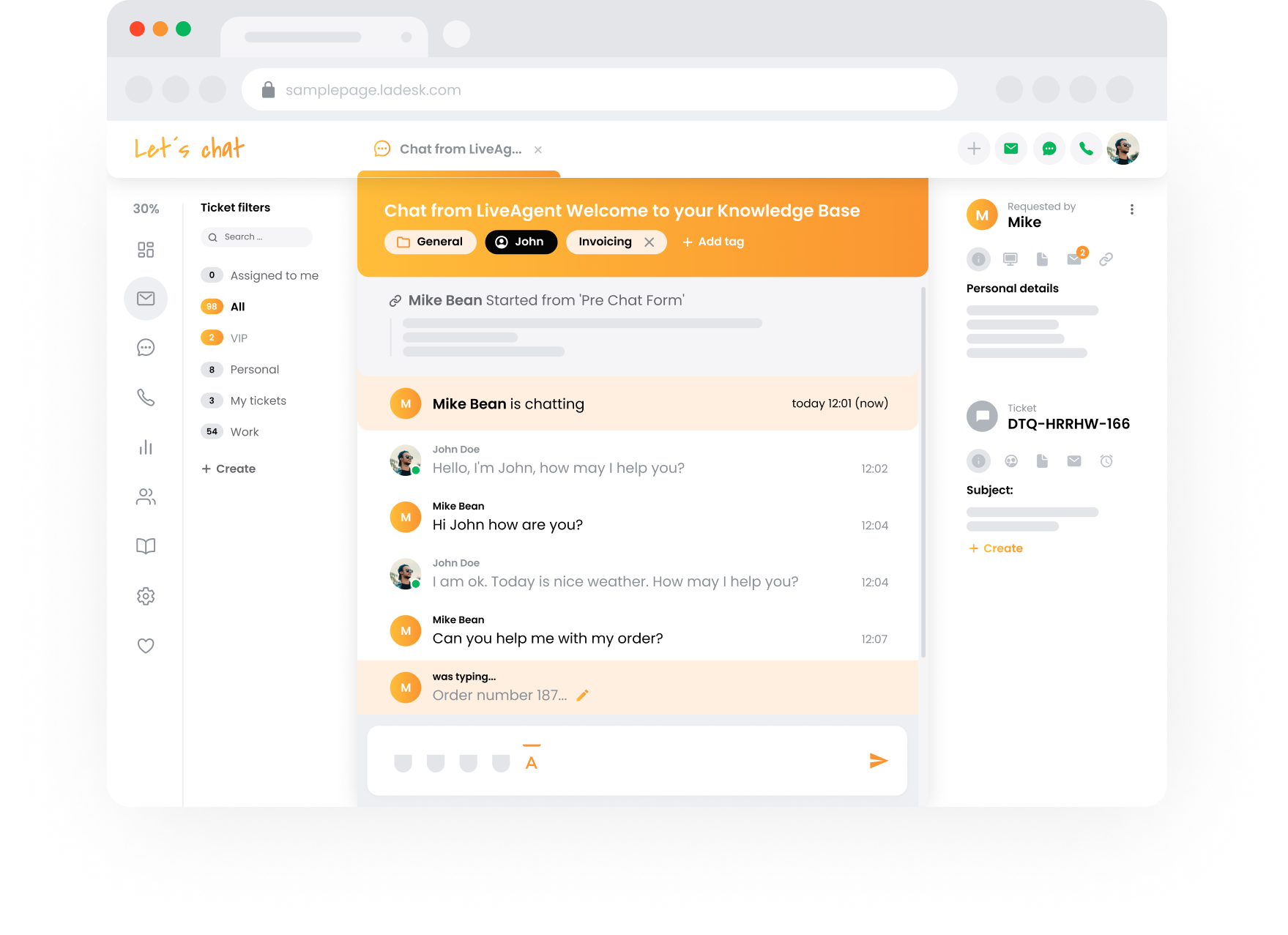 LiveAgent Software - Chat - Support view