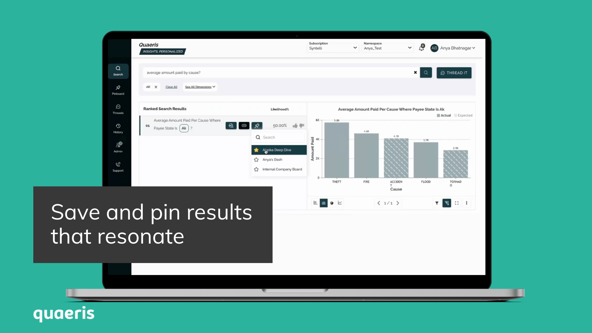 Save and pin results that resonate