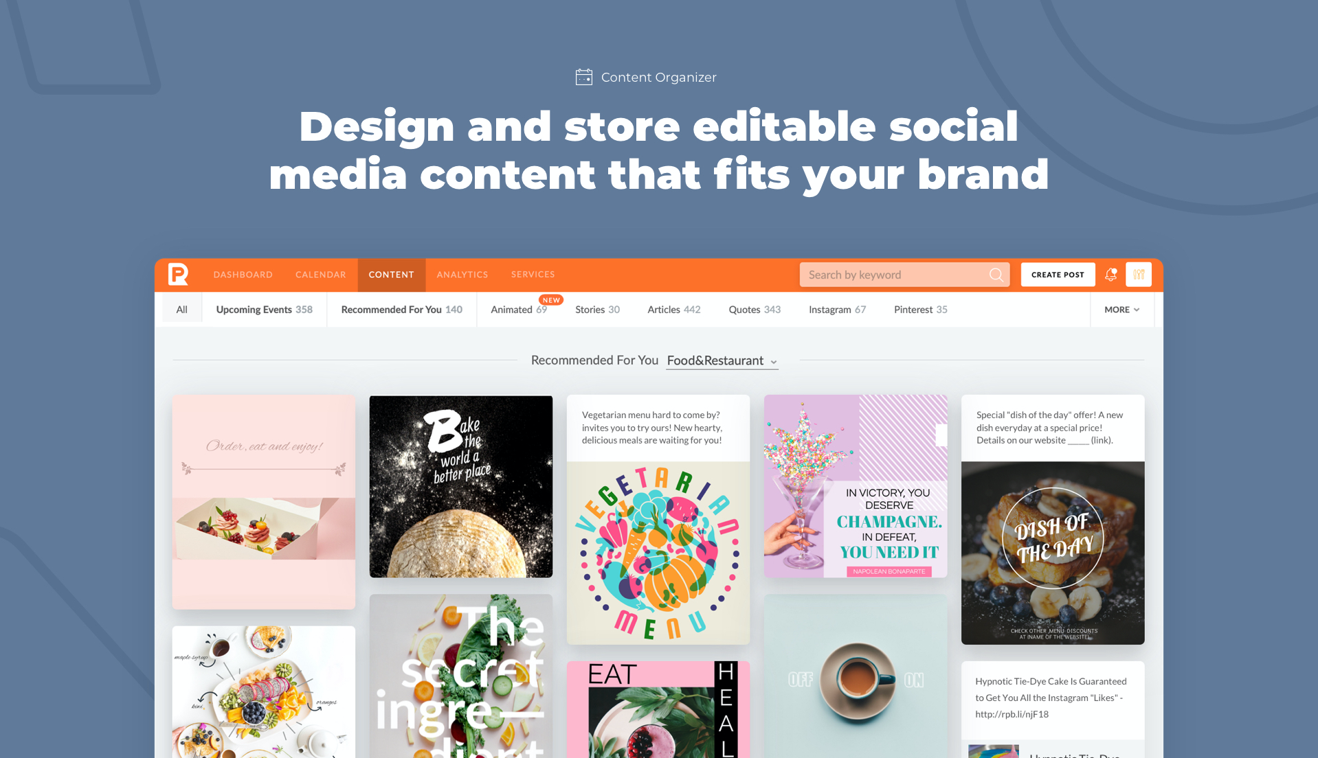 Design and store editable content that fits your brand
