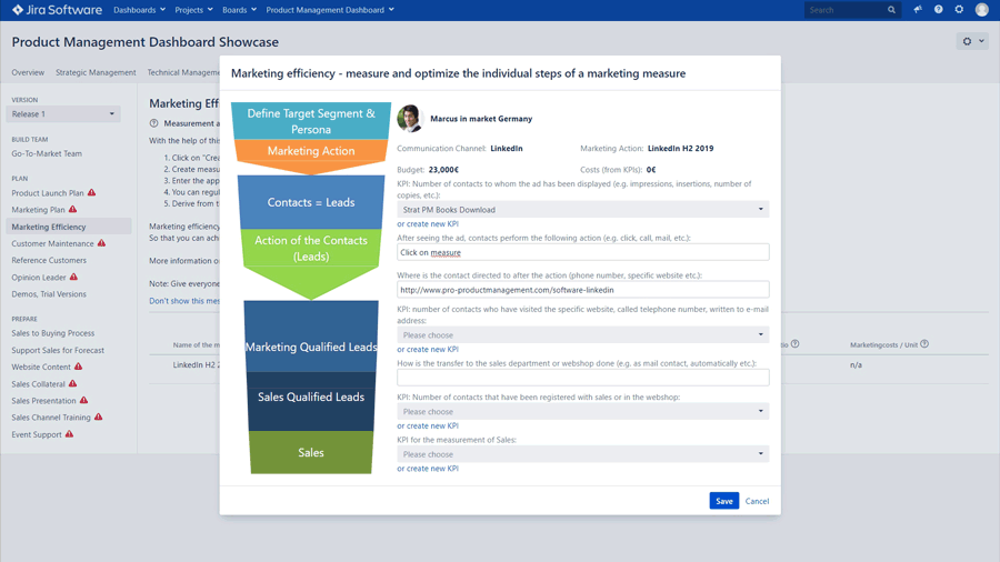 Product Management Dashboard for JIRA Software - Go-To-Market & Marketing: Create your product launch plan and marketing plans as a team in minutes. Save time and money by improving their efficiency