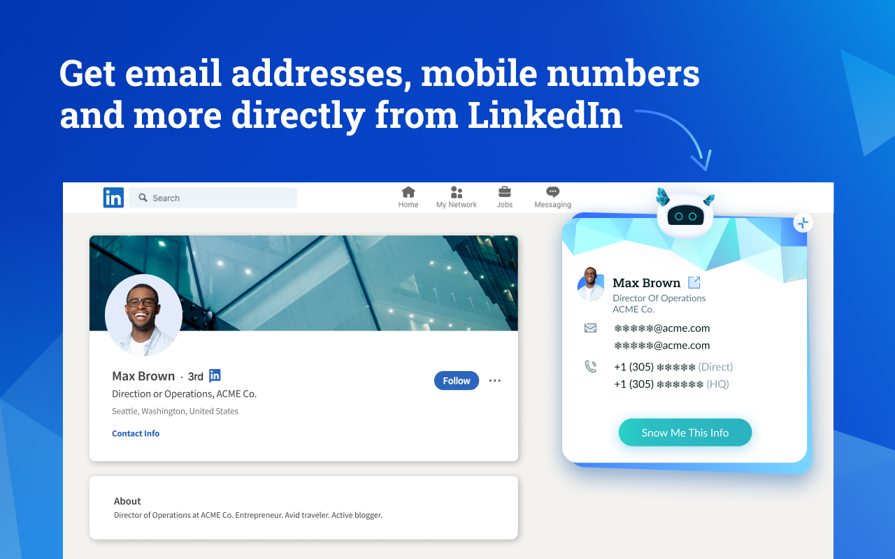 Datanyze screenshot: Get contact information, including email addresses, direct dial and mobile numbers directly from LinkedIn profiles and company websites, without leaving your browser.