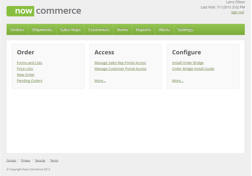 Now Commerce dashboard