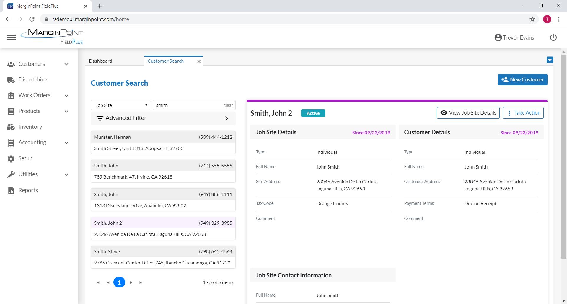 FieldPlus screenshot: Customer Search & Management