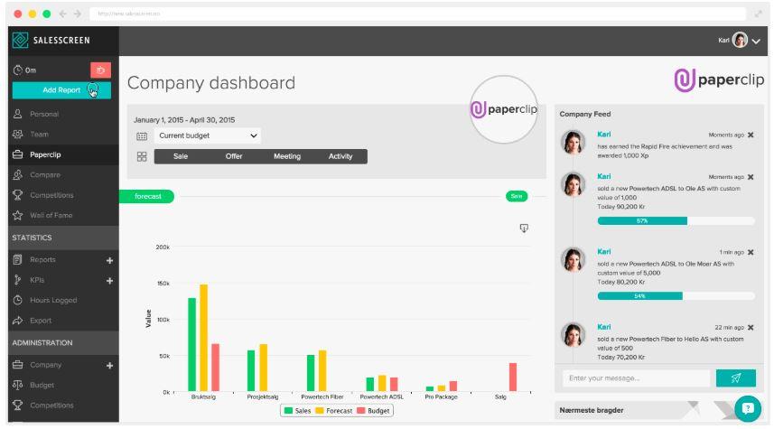 SalesScreen dashboard