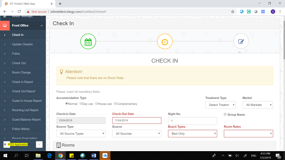 CloudWadi Hotel Management Software front office check-In screenshot