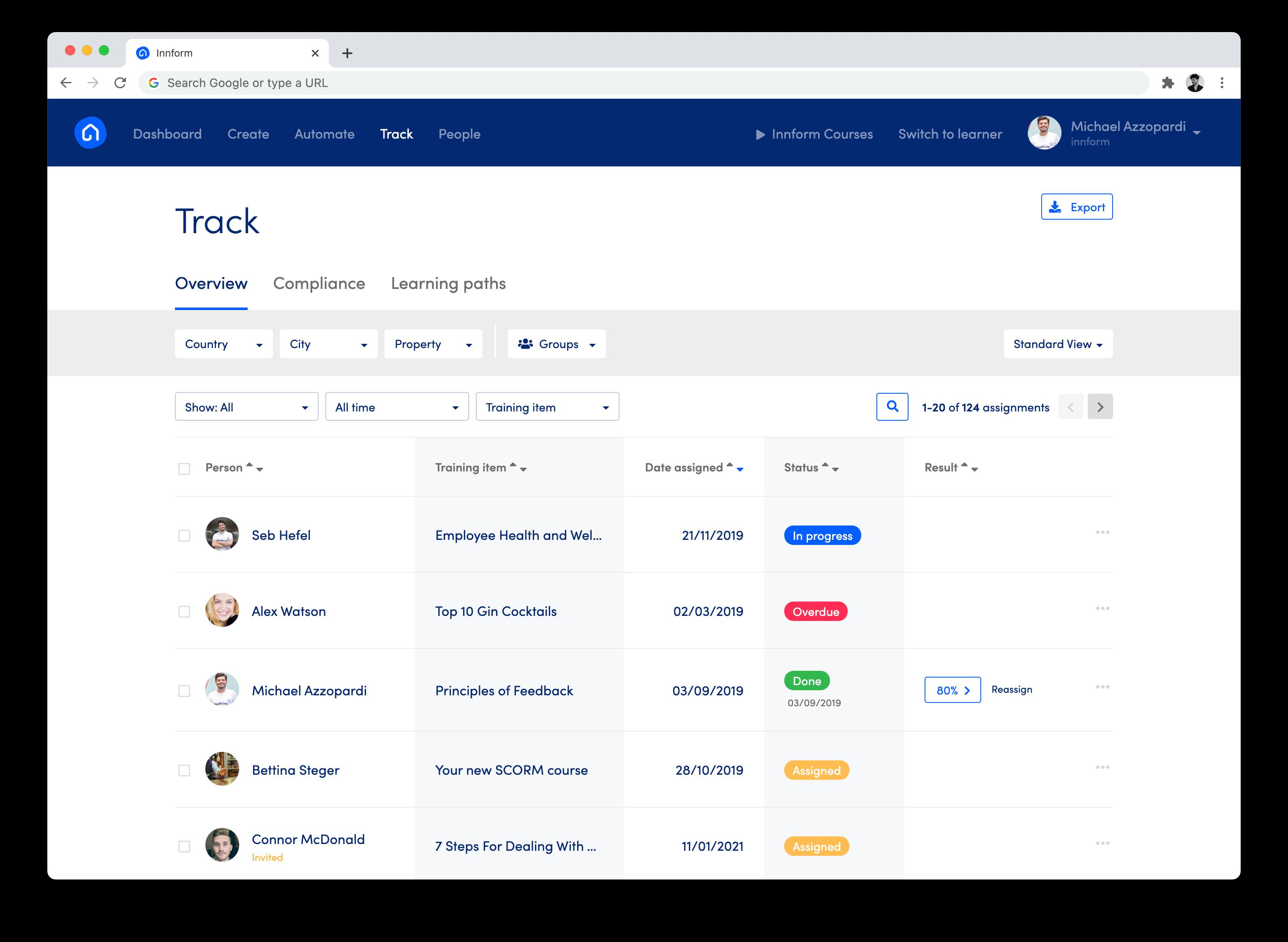Innform assignment tracking
