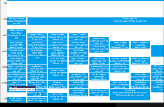 Art Center Canvas screenshot: Art Center Canvas lesson scheduler