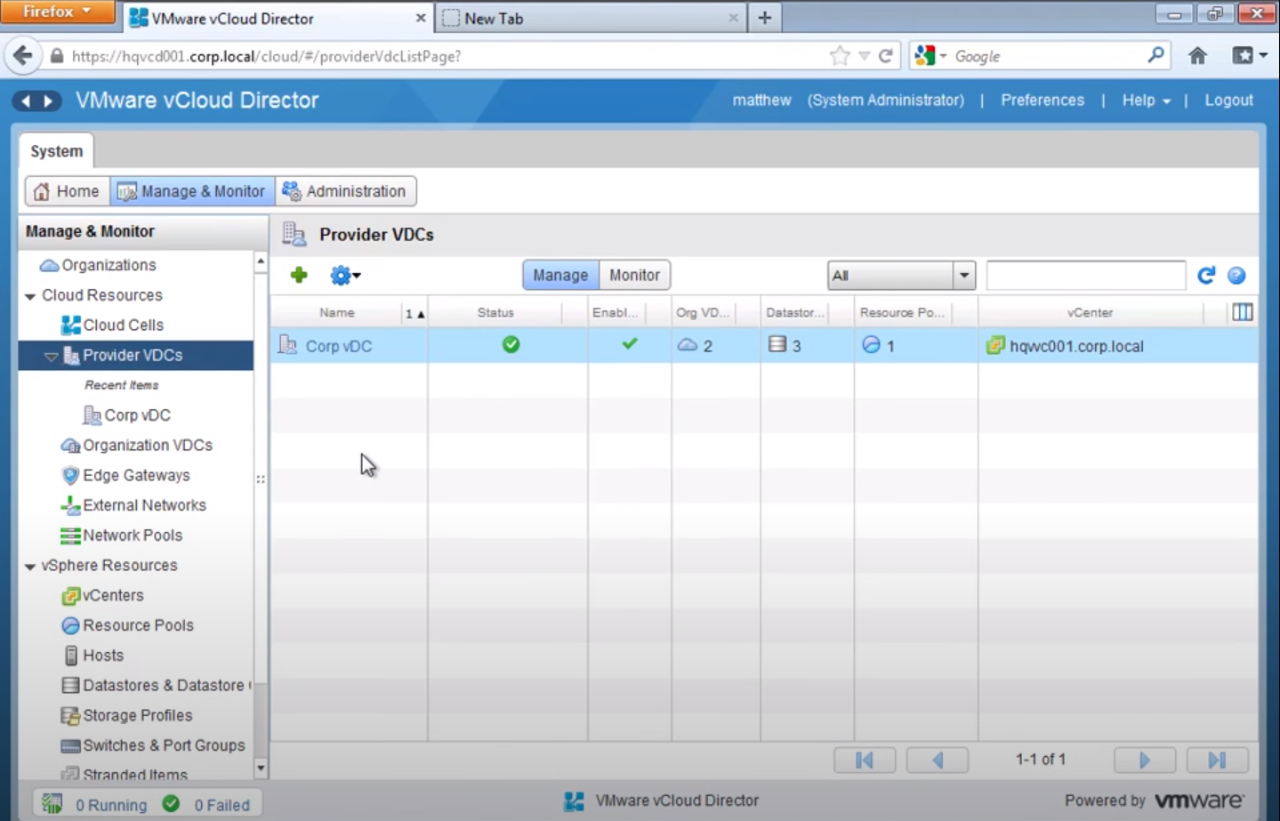 VMware vCloud director manager & monitor