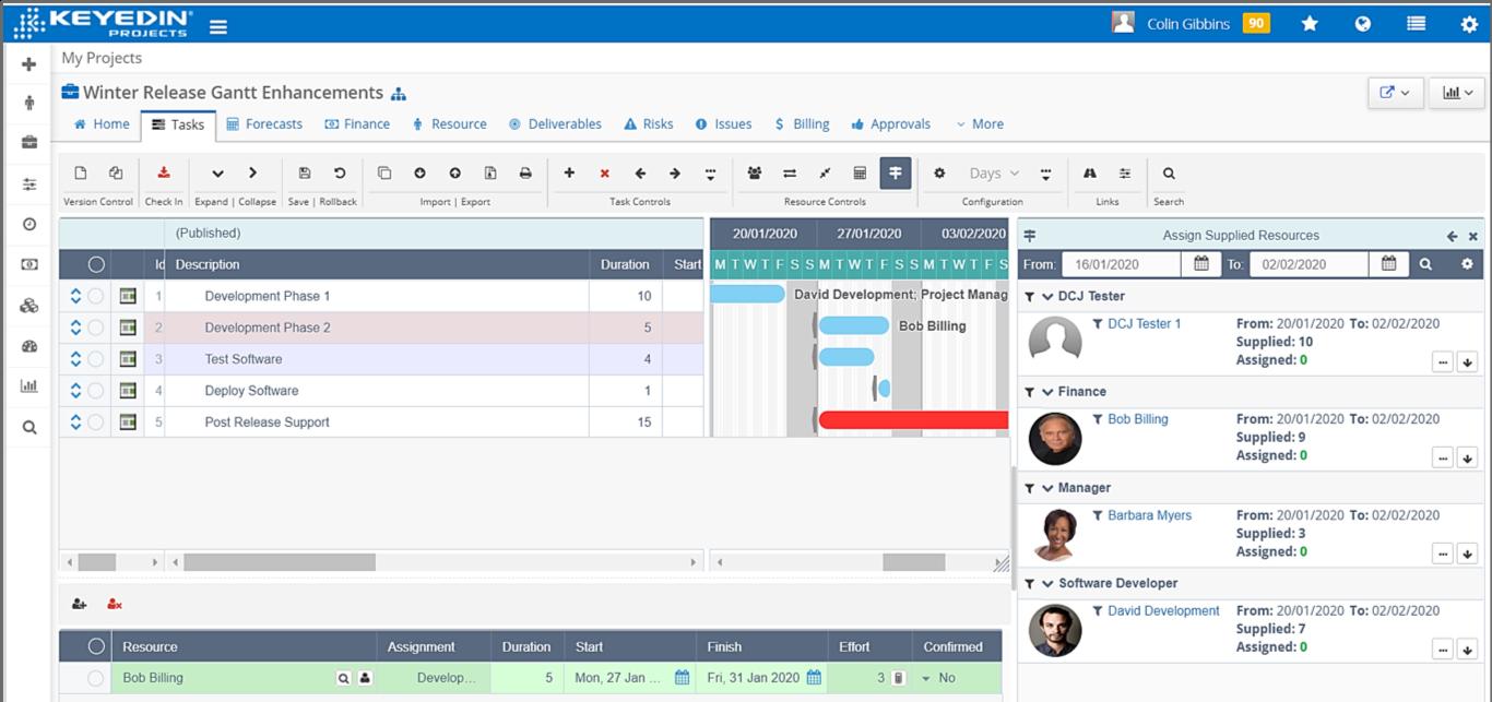 KeyedIn Software - Project Gantt Charts