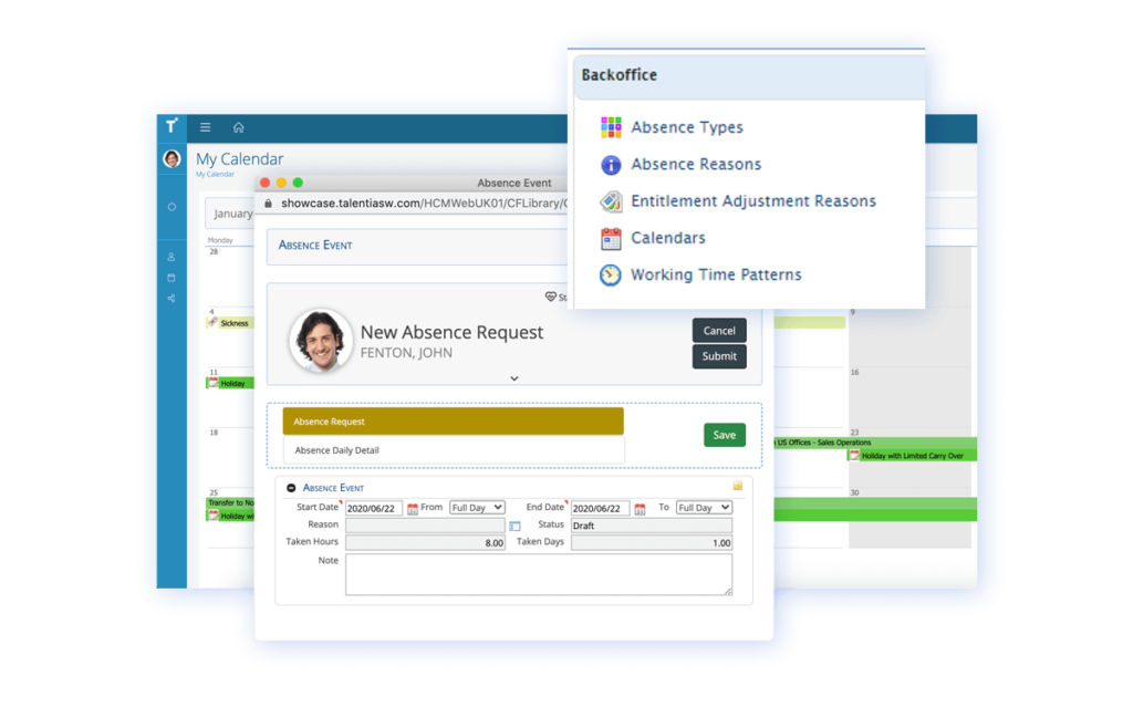 Talentia HCM Software - Absence Management Software. Absence management can be a considerable task to manage and monitor, especially across multiple countries, locations and contract types. Keep track of your team's holidays, sick days or any other absences easily.
