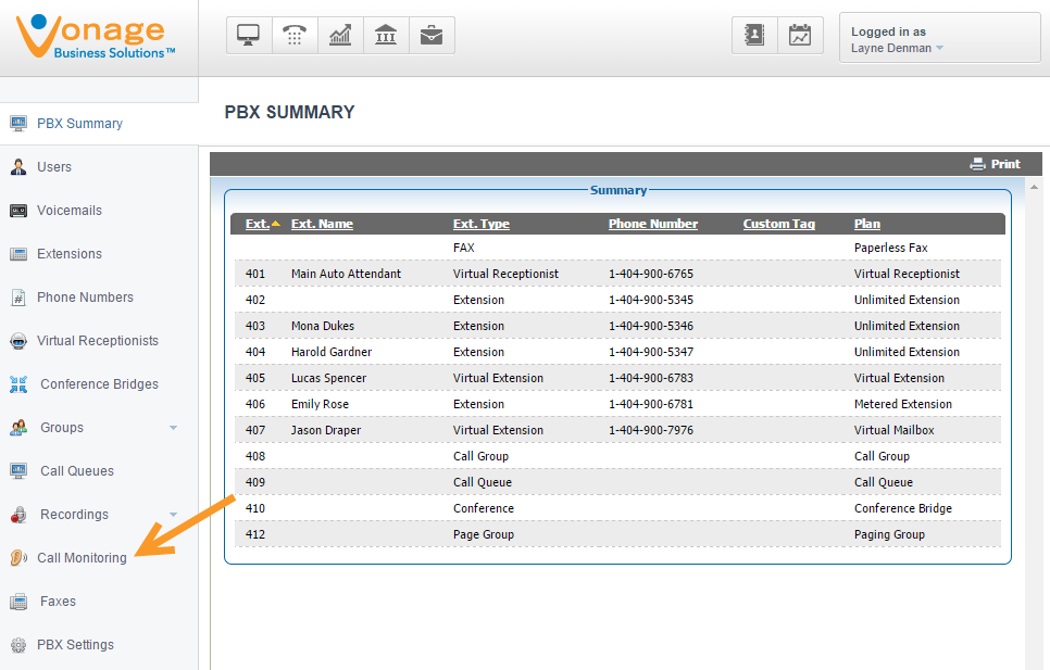 Vonage Business PBX (Private Branch Exchange) summary allows administrators to keep track of and edit feature plans