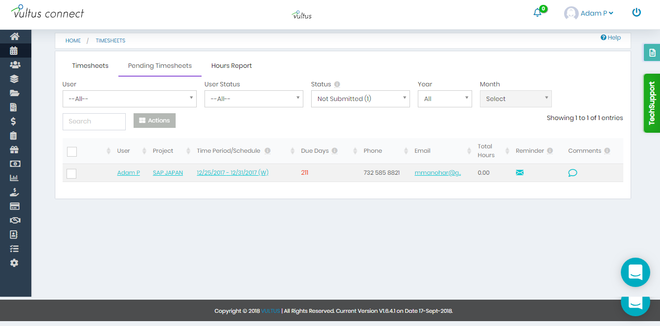 Vultus Connect - Timesheets