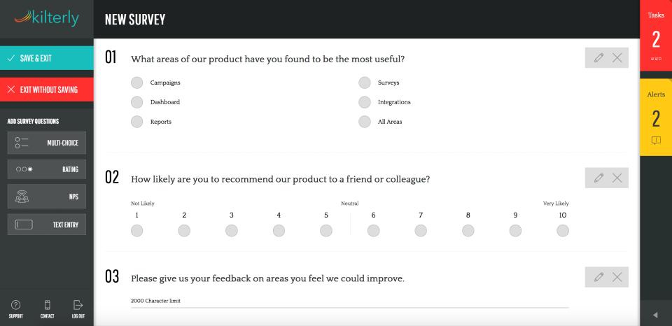 Create custom surveys to gain valuable customer feedback
