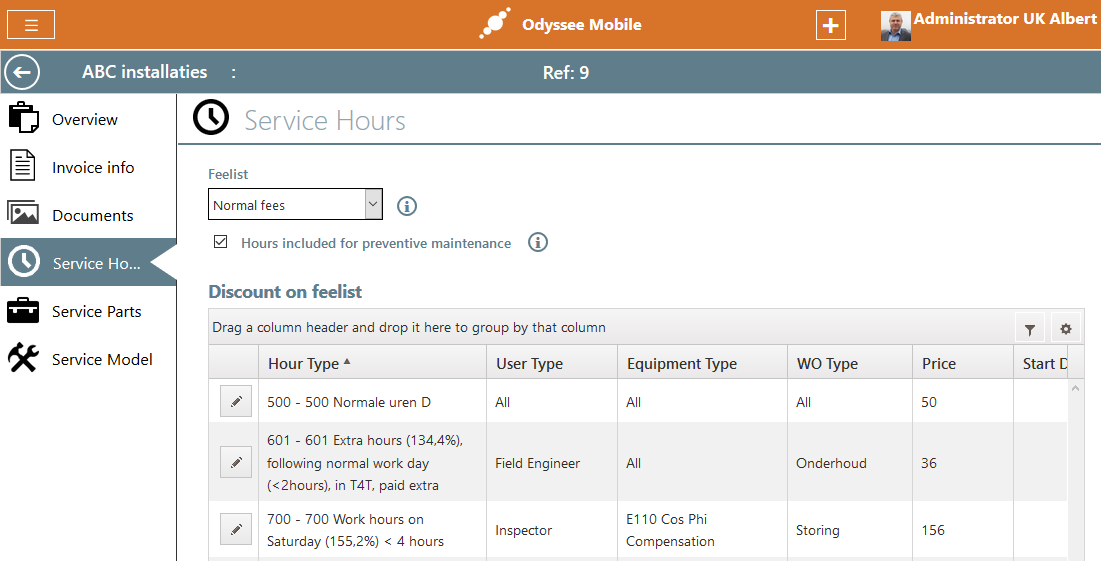 Odyssee Field Service contract service hours