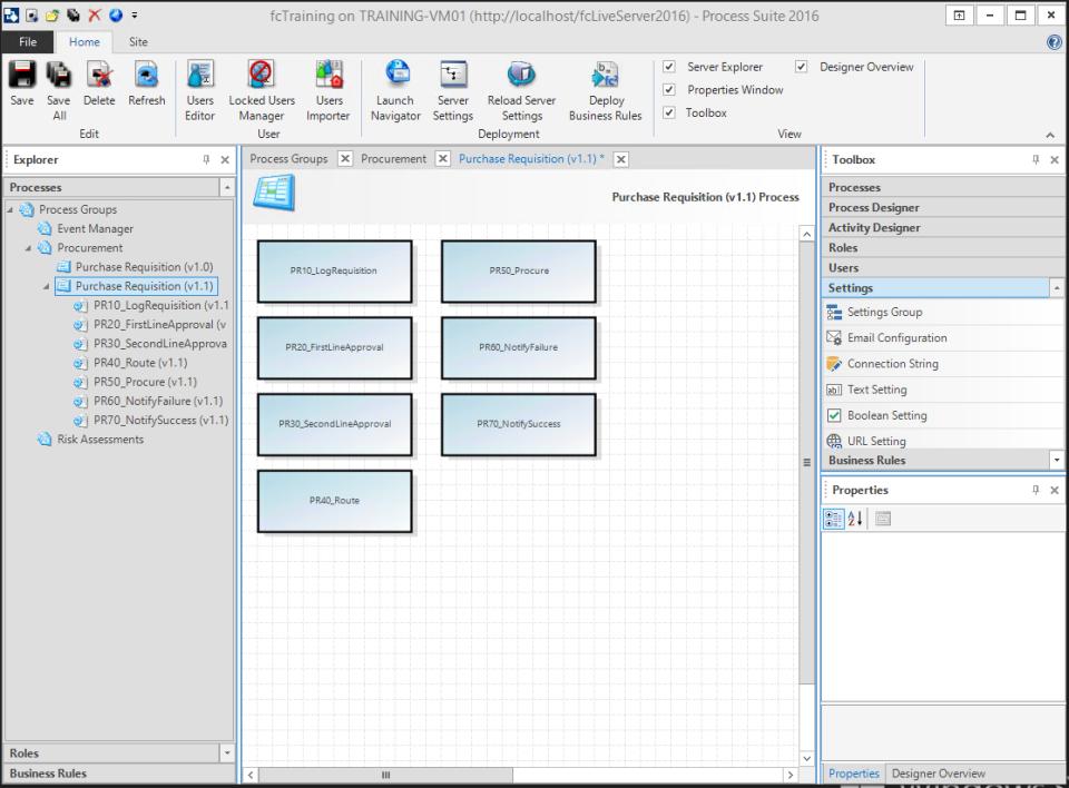 FlowCentric Processware designer displaying existing processes