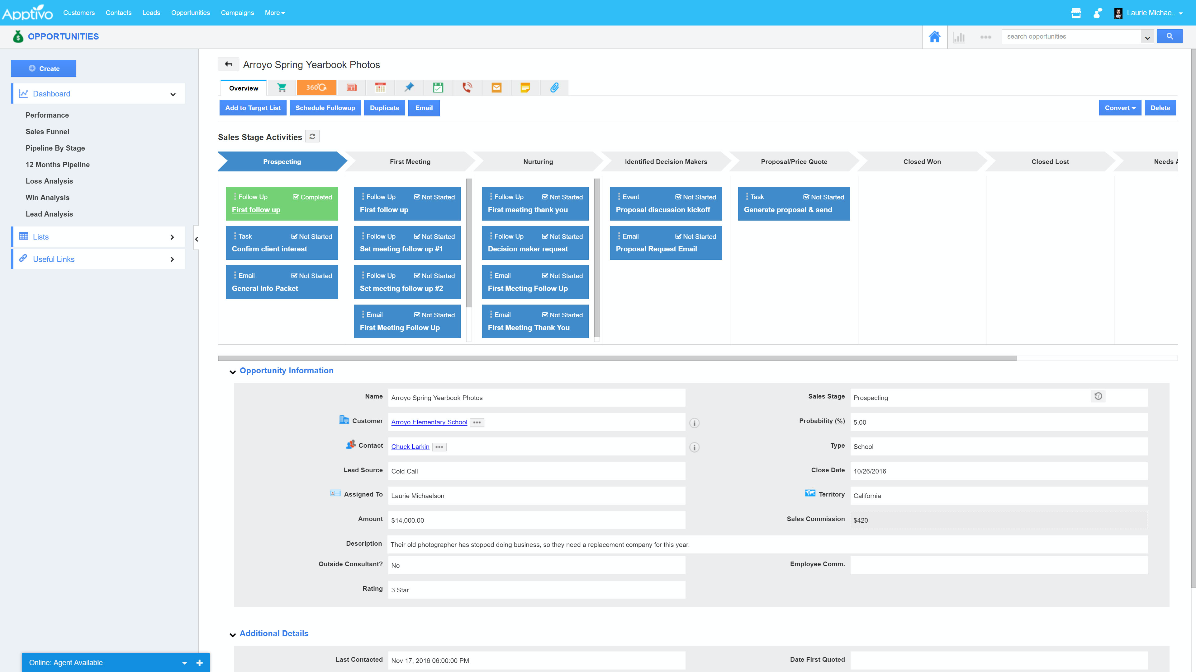 Create automated workflows to create activities & send automatic emails