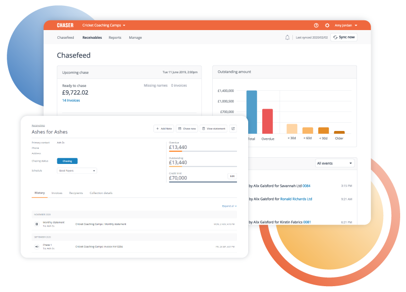 Chaser Software - Keep track of all chasing activity in one place: View a consolidated communication history for every invoice and every customer in your CRM, capture all reminders sent and all replies from customers automatically