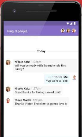 With Ping, users can send private messages to each other in Basecamp