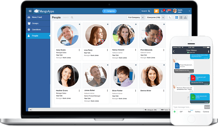 MangoApps ESN is social software for business and combines the simplicity of Twitter with the richness of Facebook so your employees can easily connect, communicate and share.