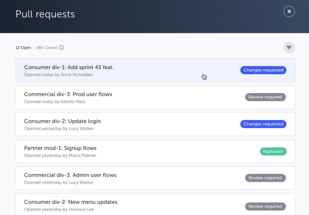 Testim pull requests