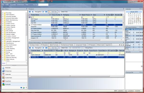 Datacor ERP screenshot: Datacor ERP - customizable  portal