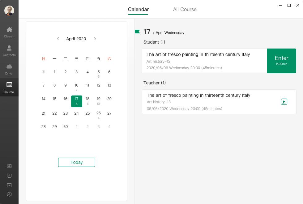 ClassIn calendar management