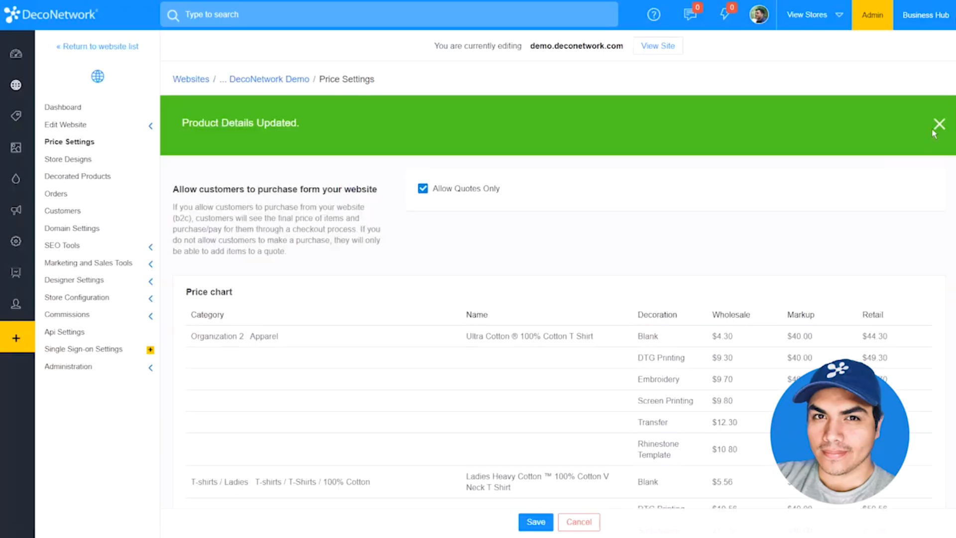 DecoNetwork price settings