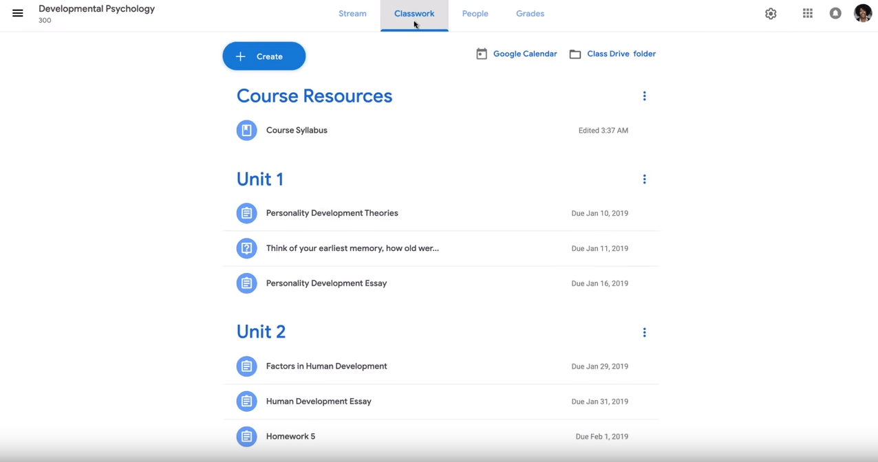 Google Classroom course resources