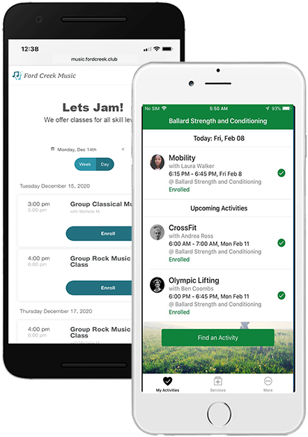 Embeddable widgets make it easy to display your Pike13 schedule on your website. A free Client App puts your business in your clients' pockets. Available option to brand the Client App to your business.